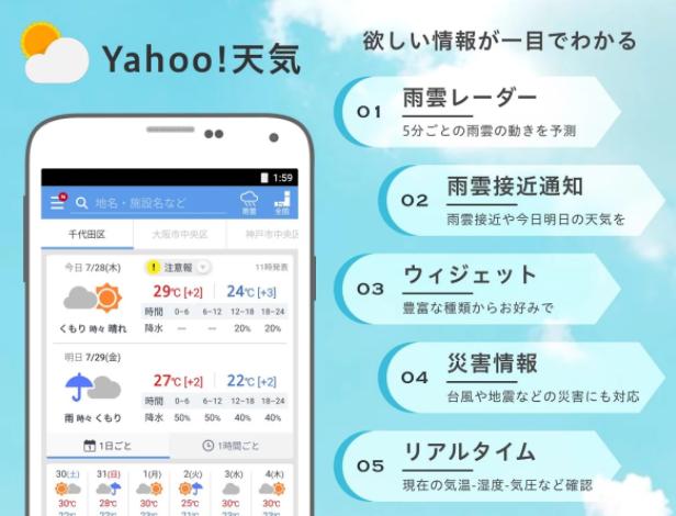優秀お天気アプリ「Yahoo!天気」はウィジェットとしても大活躍です!