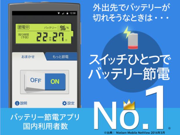 「節電と充電管理で電池長持ち&容量スッキリ Yahoo!スマホ最適化ツール」バッテリー残量と残り時間(予測)を表示します。
